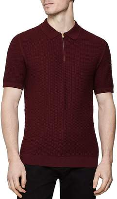 Reiss Freddy Honeycomb Slim Fit Half-Zip Polo Shirt