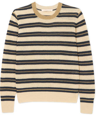 Vanessa Bruno - Ilda Striped Metallic Linen-blend Sweater - Ecru