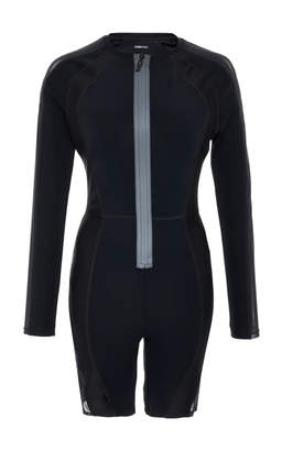 Nan Long Sleeved Crew Neck Short Fitted Jumpsuit