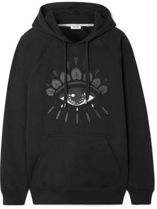 Kenzo Embroidered Cotton-jersey Hooded Top - Black