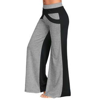 f6d09c55baadff LISTHA Wide Leg Yoga Pants Women Causal Mid Waisted Bell Bottoms Flare  Trousers