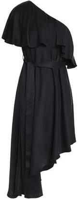 Zimmermann One-Shoulder Ruffled Washed-Silk Dress