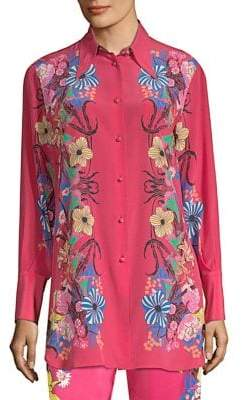 Etro Tropical Floral-Print Silk Shirt