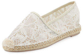 Valentino Floral-Lace Espadrille Flat