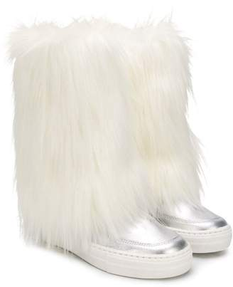 Andorine faux fur and leather boots