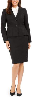 Le Suit Pleated-Hem Shine Skirt Suit