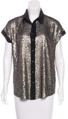 Elizabeth and James Sequined Button-Up Top