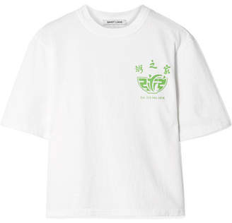 Sandy Liang Congee Printed Cotton-jersey T-shirt - White