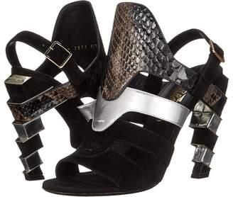 Salvatore Ferragamo Suede and Calfskin Sandal With Heel High Heels