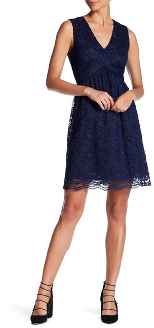 Anna Sui Anna Sui Garden Rose Lace V-Neck Dress