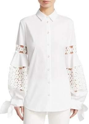 Lela Rose Lace Inset Full Sleeve Shirt
