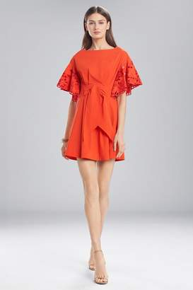 Josie Natori Cotton Shirting Ruffle Sleeve Dress