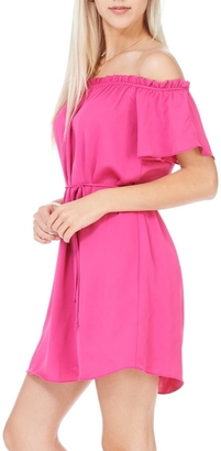 Everly Fuchsia Off The Shoulder Dress $55 thestylecure.com
