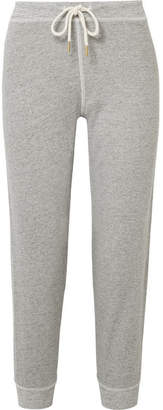 The Great The Cropped Cotton-blend Jersey Track Pants - Gray