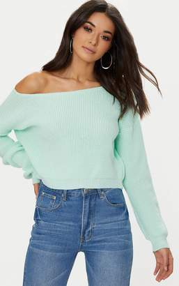 PrettyLittleThing Cream Off The Shoulder Crop Jumper