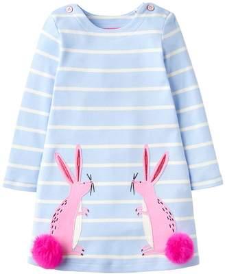 Joules Toddler Girls Kaye Bunny Applique Pom Pom Dress