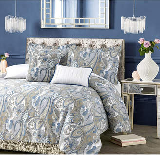 Tribeca Living Paisley Park 300 Thread Count Cotton Oversized Queen Duvet Cover Set Bedding