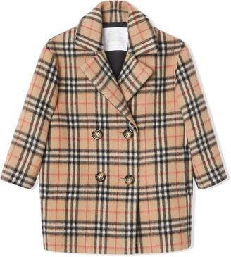 Burberry Vintage Check Alpaca Wool Blend Pea Coat