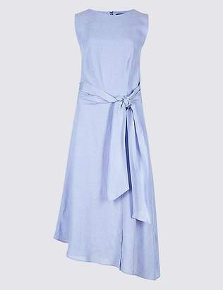 Marks and Spencer Linen Blend Tie Waist Skater Midi Dress