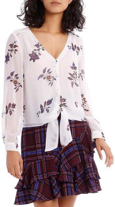 Miss Shop Paisley Tie Front Shirt