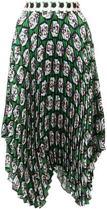Milly rose print pleated skirt