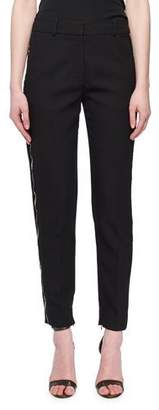 Victoria Beckham Victoria Flat-Fly Slim Tapered-Leg Wool-Blend Pants w/ Beaded Tux Stripe