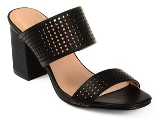 Co Brinley Womens Faux Leather Laser-cut Dual-strap Heeled Mules