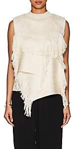 AKIRA NAKA Women's Layered Fringed Sleeveless Sweater - White