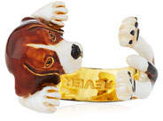 Visconti & Du Reau Beagle Plated Enamel Dog Hug Ring, Size 7
