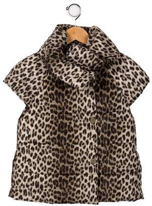 Lanvin Girls' Animal Print Puffer Vest