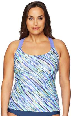ZeroXposur Women's Plus Size Monsoon Sunburst Tankini Top