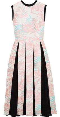 House of Holland Palm Leaf Jersey-Trimmed Jacquard And Fil Coupé Dress