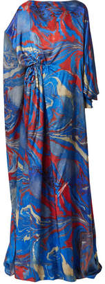 Rosie Assoulin Lady Liberty Gathered Printed Crepe De Chine Gown - Blue
