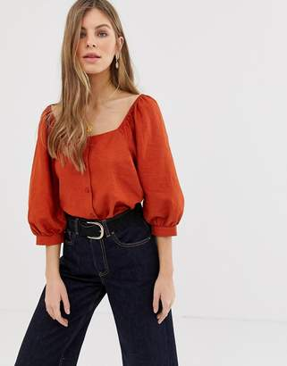 Asos Design DESIGN 3/4 sleeve square neck top with button detail in linen