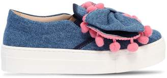 Bow Denim Slip-On Sneakers