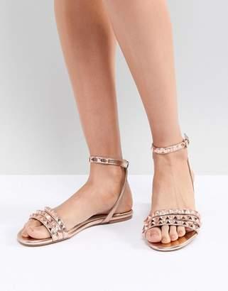 Faith Pyramid Rose Gold Stud Flat Sandals