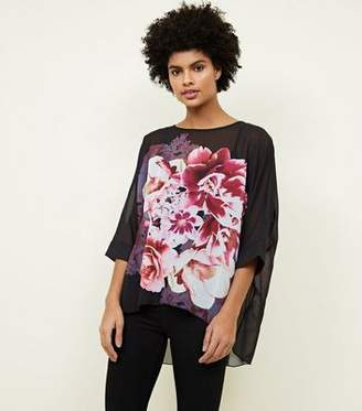 Apricot Black Floral Oversized Top