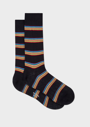 Paul Smith Men's Dark Navy Multi-Coloured Block Stripe Socks