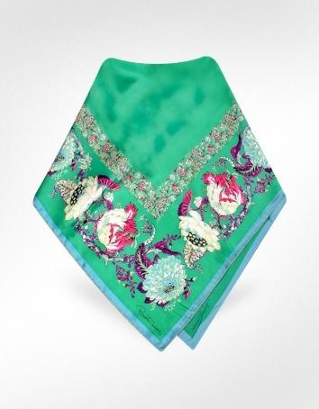 Roberto Cavalli Antique Floral Print Signature Square Silk Scarf