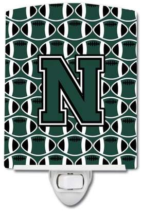 N. Caroline's Treasures Letter Football Green and White Ceramic Night Light