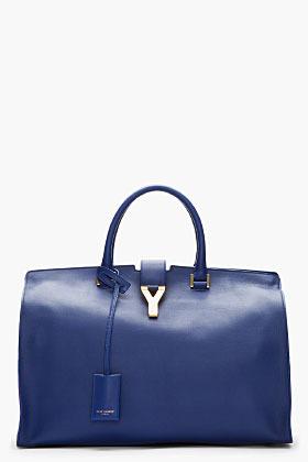 Saint Laurent Royal Blue Leather Chyc Tote