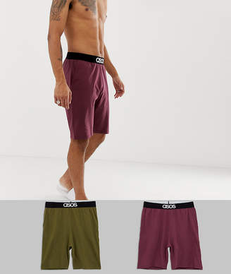 Asos Design DESIGN 2 pack lounge pyjama shorts in burgundy & khaki save