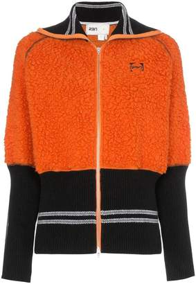 Bjorn Borg RBN X two-tone fleece insert zip-up wool bomber jacket
