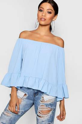 boohoo Sasha Woven Off The Shoulder Frill Sleeve Top