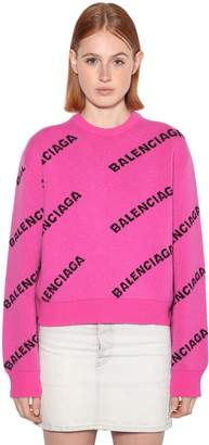 Balenciaga LOGO CREWNECK WOOL KNIT JACQUARD SWEATER