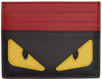 Fendi Black and Red Bag Bugs Card Holder