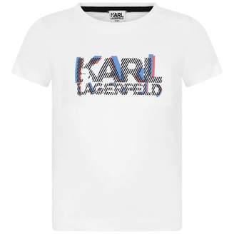 Karl Lagerfeld LagerfeldBoys White Logo Print Top