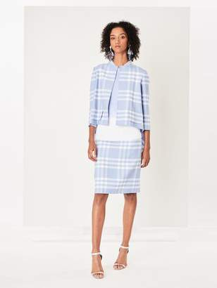 Oscar de la Renta Large Check Double-Face Wool Skirt
