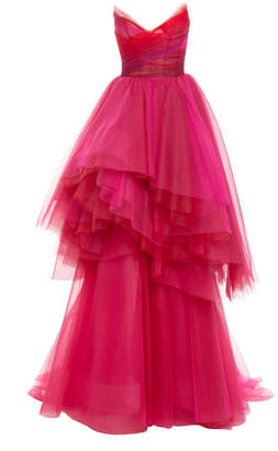 Monique Lhuillier French Tulle Asymmetrical Tiered Gown