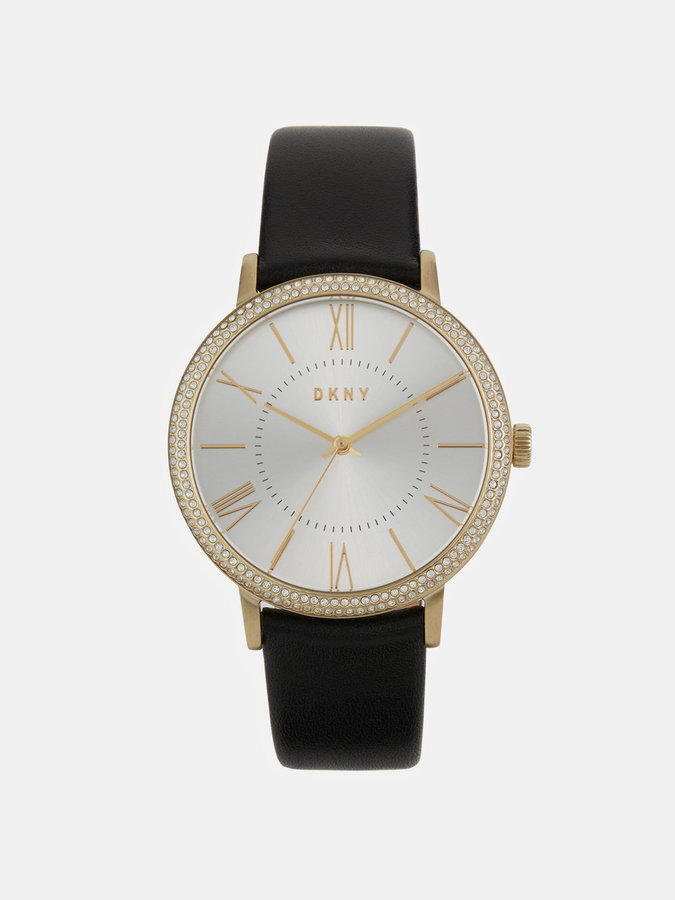 DKNY Willoughby 38mm Gold-Tone Stainless Steel And Black Leather Watch With Glitz